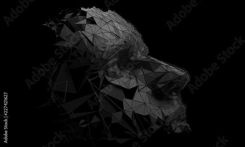 Fototapeta Polygonal human face. 3D illustration of a cyborg head construction. Artificial intelligence concept. obraz