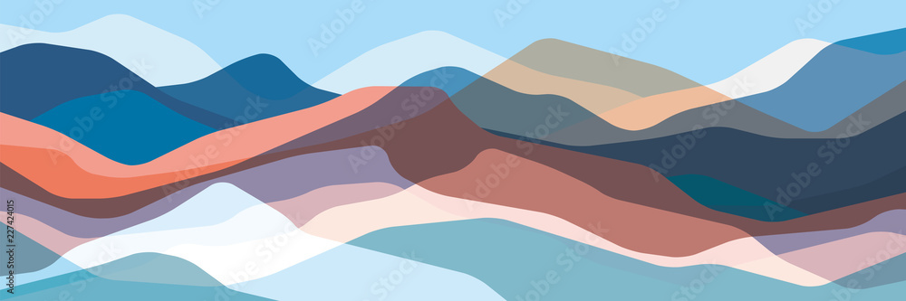 Fototapety, obrazy: Color mountains, translucent waves, abstract glass shapes, modern background, vector design Illustration for you project