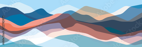 Deurstickers Pool Color mountains, translucent waves, abstract glass shapes, modern background, vector design Illustration for you project