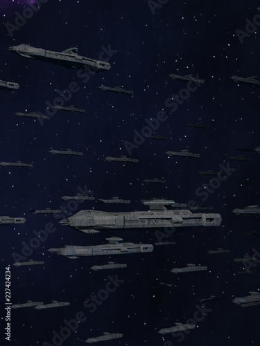 Foto Space Opera: Armada of Battleships 3d Illustration