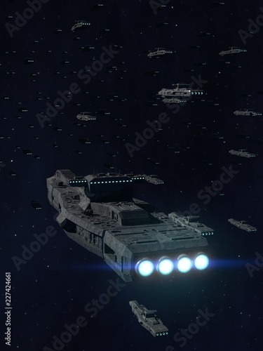 Stampa su Tela Space Opera: Armada of Battleships 3d Illustration