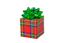 Gift Box Red Checked Isolated On White Background