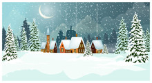 Snowy Winter Landscape With Cottages And Fir-trees Vector Illustration. Night Country Scene. Christmas Or New Year Concept. For Websites, Wallpapers, Posters Or Banners