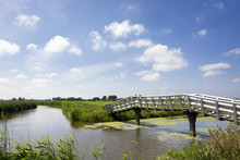 Typical Dutch Landscape With Green Meadows, Grass, Bridge, Water, Blue Sky And Clouds