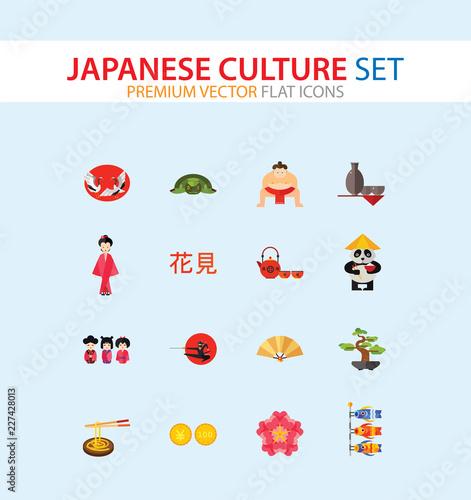 Obraz na plátně Japanese Culture Icon Set