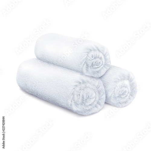 Fényképezés Vector. Mock Up. White rolled fluffy terry towels
