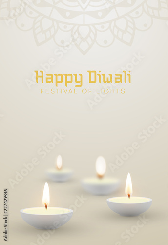 White Happy Diwali background with oil lamps.