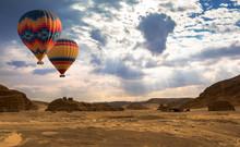 Hot Air Balloon Travel Over Desert