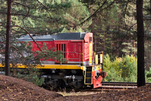 Red Shunting Locomotive On The Tracks Among The Trees