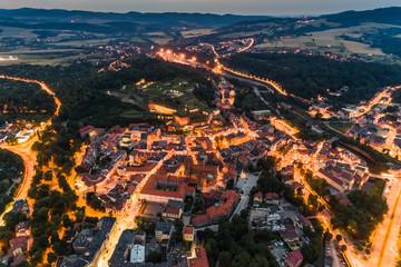 FototapetaKlodzko city lights aerial view