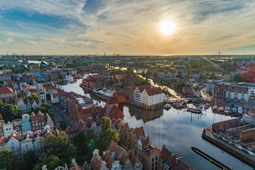 Gdansk aerial view, sunrise, city panorama in the morning with Olowianka
