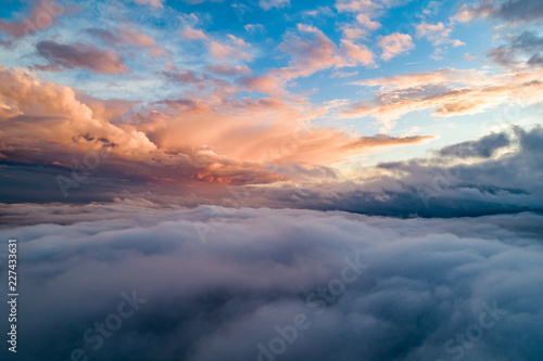 Foto  Above the clouds beautiful aerial view