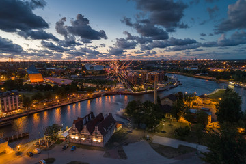 FototapetaGdansk aerial view, citylight panorama in the evening with Museum of WWII