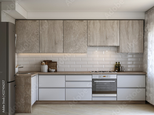 White kitchen contemporary style, 3d images - fototapety na wymiar