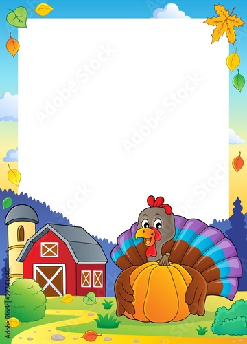 Turkey bird holding pumpkin frame 2