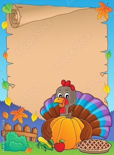 Turkey bird holding pumpkin parchment 1