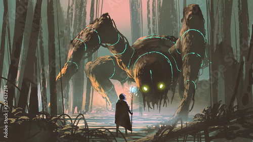 Leinwand Poster young wizard with magic staff and giant creature looking at each other in the fo