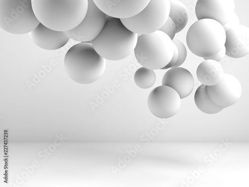 Photo Cloud of spheres flying in abstract 3d room