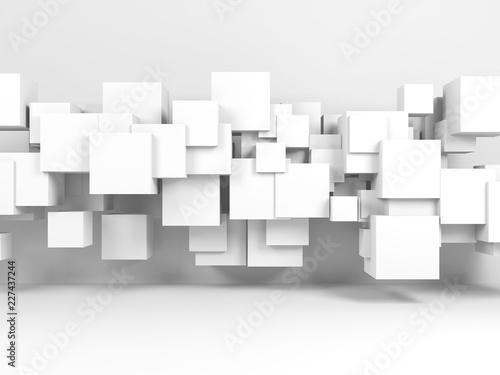 Instalacja latających kostek w 3d wnętrzu pokoju
