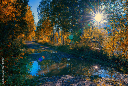 Keuken foto achterwand Baksteen Autumn on the road. Altai. Kazakhstan.