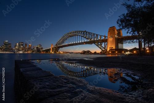 Plakat Sydney Harbour Bridge Zachód słońca Refleksje