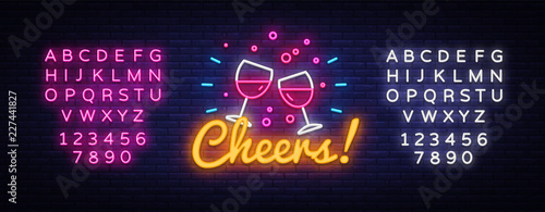 Fotografía  Cheers neon sign vector