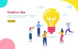 Creative idea vector illustration concept, people with giant shine light bulb, can use for, landing page, template, ui, web, mobile app, poster, banner, flyer