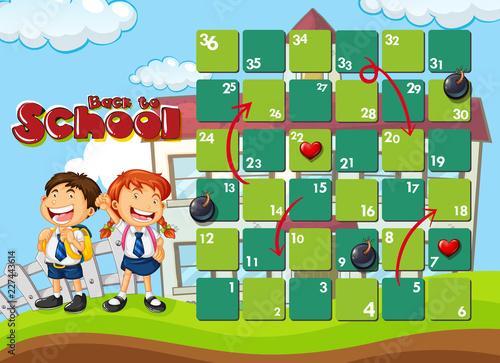 Staande foto Kids Back to school board game template