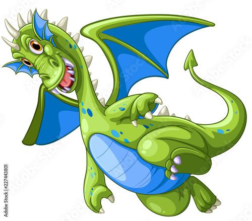 Staande foto Kids Green dragon on white background
