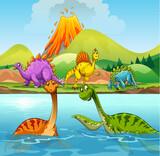 Fototapeta Dinusie - A cartoon of dinosaurs