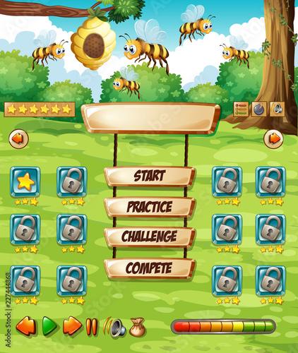 Staande foto Kids Bee in nature game template