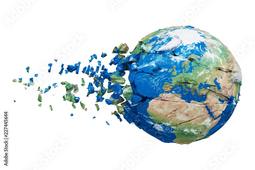 Cuadros en Lienzo Broken shattered planet earth globe isolated on white background