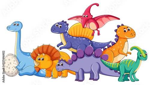 Tela Set of different dinosaur character