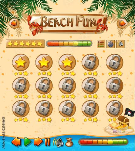 Staande foto Kids Beach fun game template