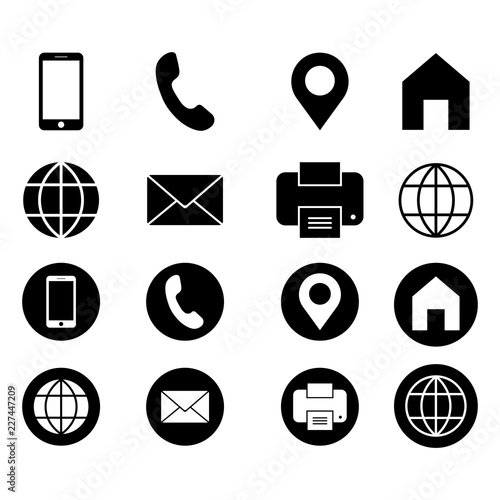 business card vector icon set web location fax phone address sign modern flat symbol isolated on white background buy this stock vector and explore similar vectors at adobe stock adobe stock business card vector icon set web