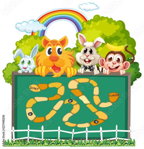 Staande foto Kids Cute animals board game template