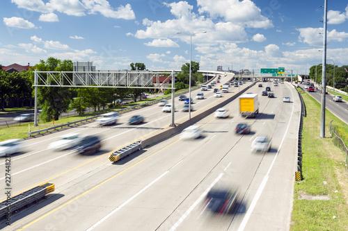 Moderate traffic on the highway, USA Fototapeta