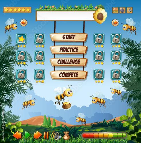 Staande foto Kids Honey bee game template