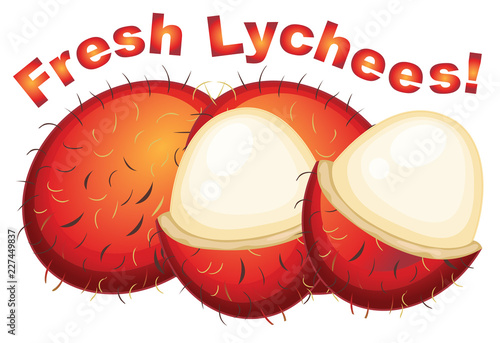 Lychees fresh on a white background