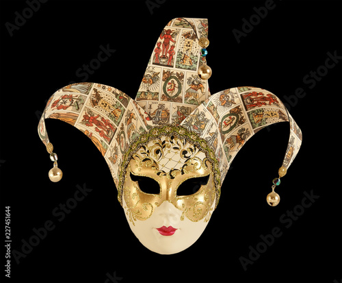 Traditional carnival Venice (Italy) mask isolated on black background