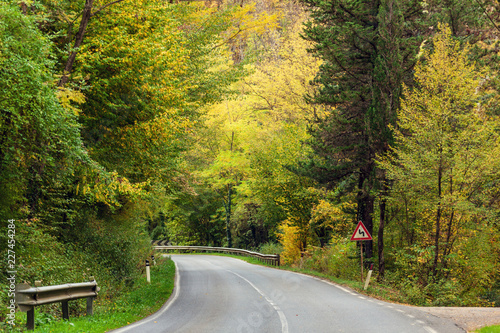 Deurstickers Toscane The curved highway through autumn forest in the Tuscany mountains, Italy