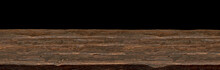 Perspective View Of Empty Wooden Table Edge On Black Background
