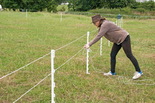 Electric Fence Construction To Partition Off A Section Of Grazing To Segregate Horses From Other Horses Or From Eating Too Much Grass & Becoming Ill.