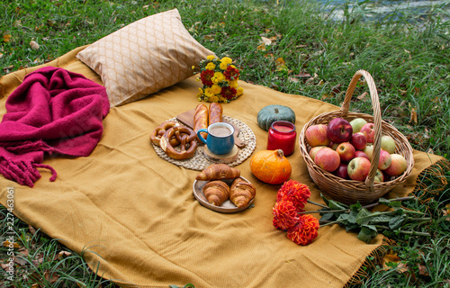Garden Poster Picnic Basket with Food Bakery Autumn Picnic Time Rest Background
