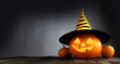 canvas print picture Halloween pumpkin with witches hat