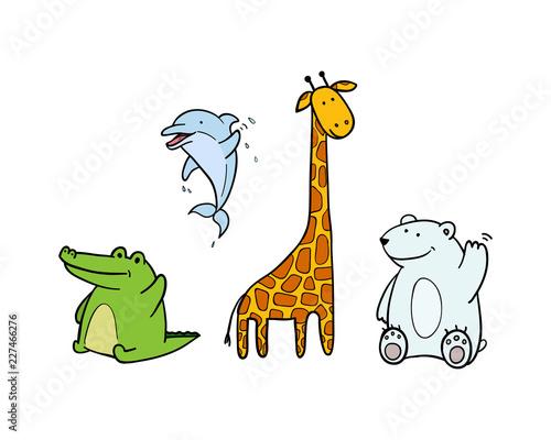 colored vector funny animals for zoo. crocodile, Dolphin, giraffe and bear