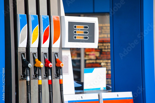 Fotografie, Obraz  columns with gasoline at a gas station