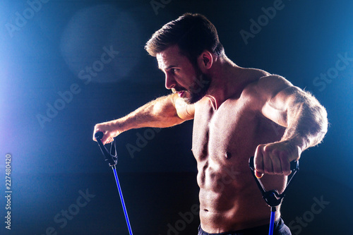 Fotografia Muscular fitness man antique perfect muscles six pack abs and bare chest bodybui