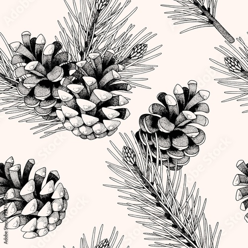 Obraz Seamless pattern with pine cones and branches - fototapety do salonu