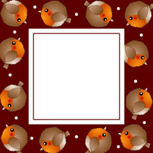 Red Robin Bird On Red Christmas Banner Card